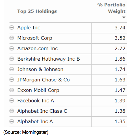 top stocks holdings