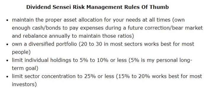 dividend sensei risk management rules of thumb