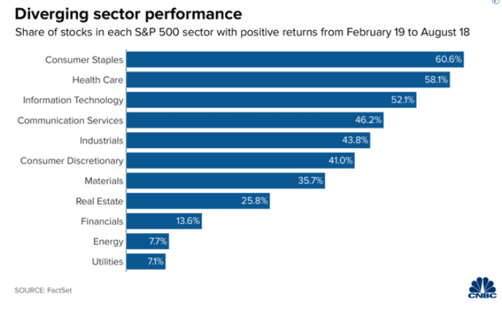 s&p 500 diverging sector performance